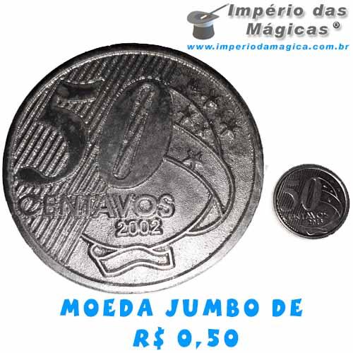 Moeda Jumbo de R$ 0,50 para Mágica - RESINA