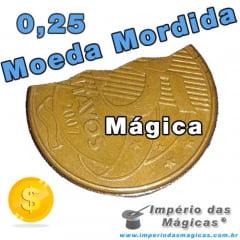 Moeda Mordida de R$ 0,25 - Bite Coin Dourada